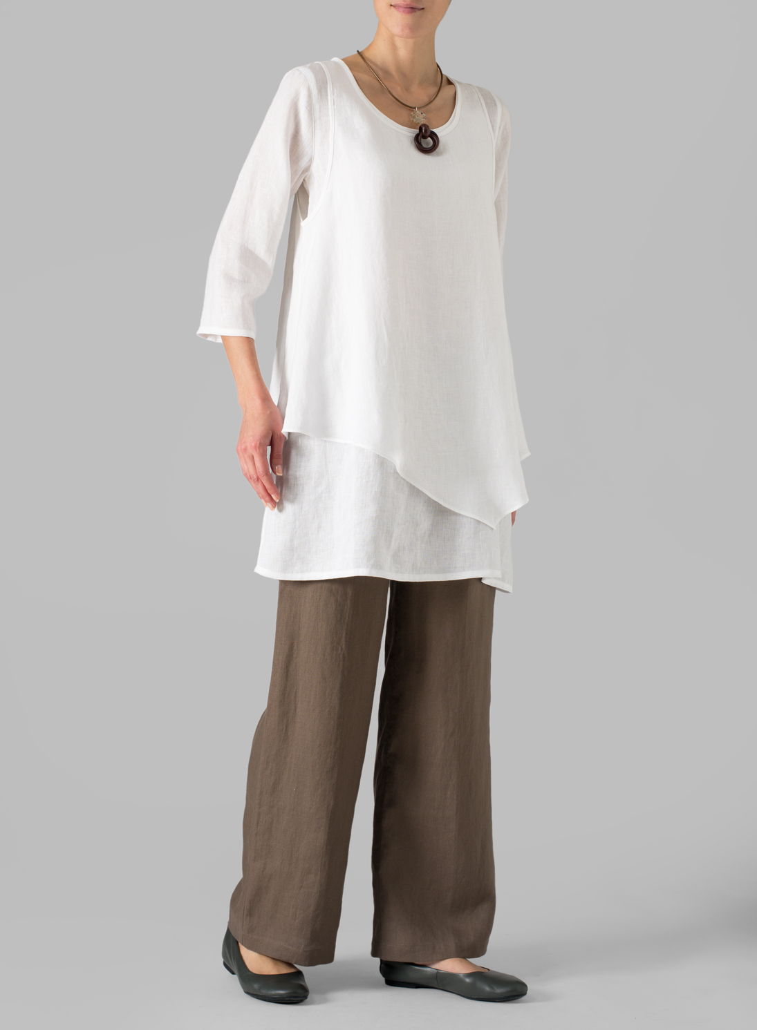 Missy Clothing Linen Double Layer Wrap Top